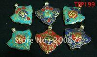 Tibetan JewelryTBP199  Tibetan brass amulet vintage heart pendants40mmBuddha eye / OMmix order