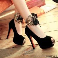 Free Shipping 2013 Hot New Arrival Fashion Style Black Women Platform High Heels Pumps For Woman ENMAYER M16NMYLC