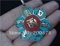 Tibetan JewelryTBP151  Tibetan copper six words mantras Amulet pendant45mmTibet OM amuletsNepal sunflower pendants