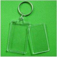 "10pcs Blank Acrylic Rectangle Keychains Insert Photo Keyrings (Key ring chain)2""x 1.25"""