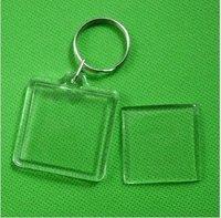 Wholesale 10pcs Blank Acrylic Keychains Insert Photo plastic Keyrings Square Key ID