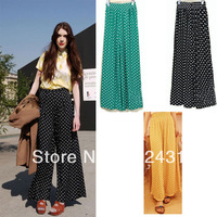 Fashion 2012 pants vintage polka dot high waist wide leg pants culottes dot wide leg pants trousers