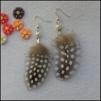 EH021 Feather earring guinea-fowl pearl&feather earring 925 silver ear hook party earring