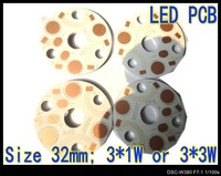 3* 1W / 3* 3W 32mm Size LED PCB  Aluminum base plate Circuit board  PCB LED board for led high power lamp 100pcs/lot