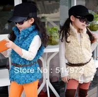 Best Selling!!Children Autumn winter Vest  with Belt Children's Outerwear Coats free shipping