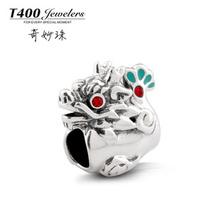 t400 feito com swarovski elements, 925 esterlina grânulos de prata, encantos diy dragão esferas próprias para europeu style# q102, frete grátis(China (Mainland))