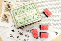 wholesale free shipping Wooden mountain birds desgin vintage Antique Stamps seal diary carved gift craft toy DIY funny 9PC/SET