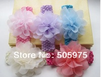 12pcs/lot Multicolor  Big Silk Flower With Headband,Baby Kids Infant Crochet Headbands