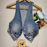 Wholesale Fashion Paillete Fringe Women's Jean Vest Waistcoat With Bow Blue Sequins Rivet Ladies Denim Vest
