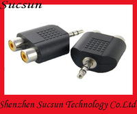 3.5mm Male to 2 RCA Female Y Splitter Audio Adapter 20pcs/lot +Free shipping