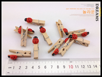Factory supply ! High quality cartoon ladybug wooden paper clip photo paper clip mini 100pcs/lot