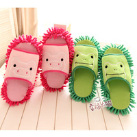 free shipping good quality 2013  new model cartoon pig frog anthozoan lounged chenille slippers at home floor