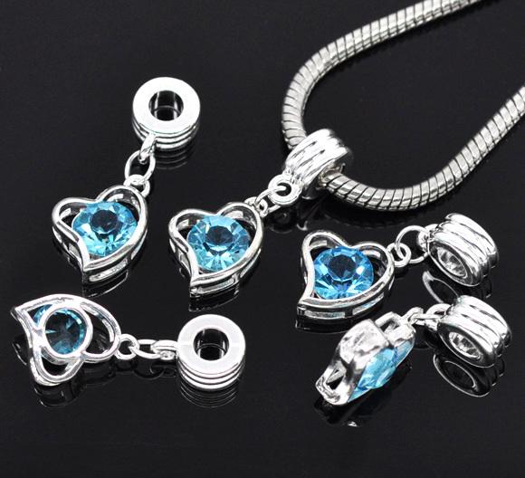 Free Shipping 50pcs Silver Plated Blue Rhinestone Heart Charm Dangle Beads Fits European Charm Bracelet 30x12mm(China (Mainland))