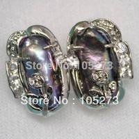 New Arriver Pearl Jewelry Natural Black Biwa Pearl Earring Studs Pearl Size 7x18mm Fashion Jewelry New Free Shipping