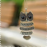 Min.order is $10 (mix order),Korean jewelry retro Owl Necklace long sweater chain(bronze),Welcome to order!