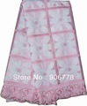 2013 new pink color emboridery cotton lace fabric pretty good for wedding and party swiss voile lace 5yards/pc free shipping