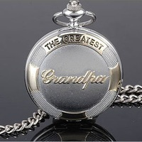 Free shipping Grand Dad's Gift Polished Grandpa Letter Engraving Cover Silver Pocket Watch ladies quartz watch glass lockets