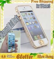 Full body style Luxury Diamond Aluminium Bumper case for iphone 5 Free shipping