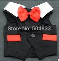 Dog TUXEDO formal vest puppy doggie cotton wedding party shirt with bowtie white and black SZ XS to XXL