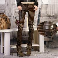 free shipping Patchwork female trousers slim plus size pants PU leopard print pencil skinny pants