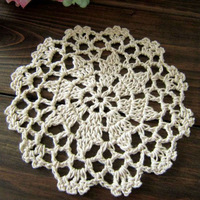 Free shipping wholesale hand made Crochet cup mat, cotton Ecru Doily ,cup pad,coaster ,crochet applique 12CM, 30Pcs/Lot