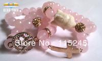 Wholesale Buddha Bracelet, Crystal Pave Beads, Rose Gold Plated Cross, Letter Love Bracelet Set BS082