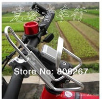New For Bike Bicycle Aluminum Alloy Handlebar Water Bottle Holder Rack Cages and Converter Silver