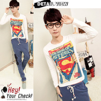 Free Shipping Korean Men Superman logo printed long sleeve t-shirt M L XL  W68