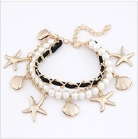Min Order 15$ Free Shipping Newest Vintage Style Seashell/Star Charm Braclets Good Quality Wholesale Hot HG0236