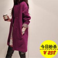 2013 spring woolen outerwear plus size clothing loose medium-long woolen overcoat wool coat