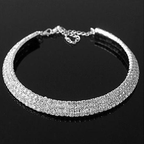 Free shipping 2015 new jewelry european collar fashion punk royal bright rhinestone short crystal silver necklace