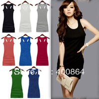 Free Shipping 2013 spring/summer Candy Colors Lady&#39;s Long Tank Top/H Back Vest Dress/Vest Top Long Dress 13 colors