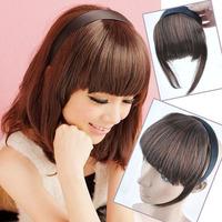 Wholesale 10pcs/lot Womens Synthetic Headband False Bangs Fringe Neat Clip in Hair Extensions Accessories 4 Colors U-pick P23