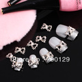 100pcs 3D Alloy Rhinestones Faux Pearl Bow Tie rfor acrylic nail and uv nail art DIY Decorations