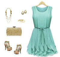 high street brand 2014 new summer chiffon ruffle casual dress preppy fashion beach dresses clothing for women