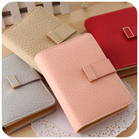 free shopping Korea stationery leather notepad agenda loose-leaf this wallet card holder diary