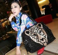 Free Shipping 2013 fashion bling leopard head shoulder bag cross-body handbag casual handbag women's bag free custom logo