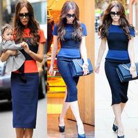 Free Shipping Europe Star Victoria Beckhams Slim Color Block  Hip Short-Sleeved Summer New Arrival Dress