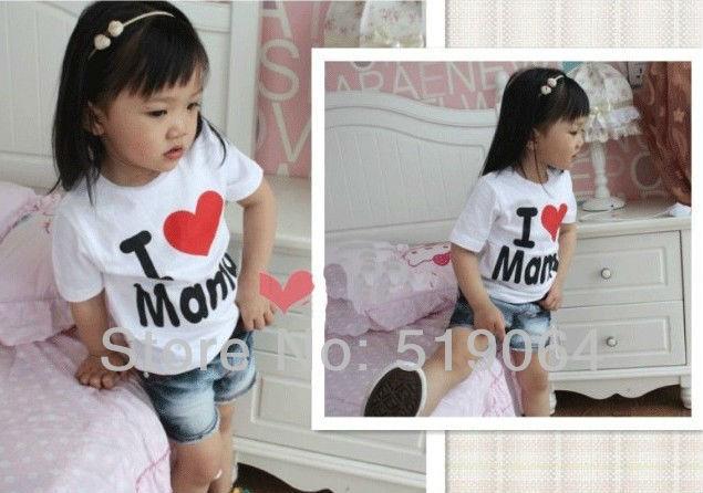 Drop Shipping Retail I Love Papa Mama Baby T-shirt Girls Boys Children Clothes For Summer T Shirt Free Shipping(China (Mainland))