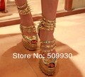 2012 sandals gold studded platform high heel pumps women glitter mirror heels spikes diamond red bottoms shoes