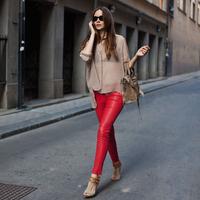 Women's 2013 fashion genuine leather pants skinny pants female trousers