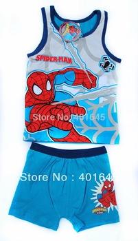 2014 new item boy summer spiderman suit  kids cartoon clothing set item NO.5264