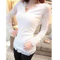 2013 spring lace basic shirt long design all-match V T-shirt collar long-sleeve shirt female Free shipping