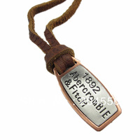 mens charm choker 1892 anniversary pendant Genuine leather necklace p376