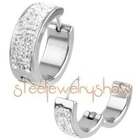 Stainless Steel 20mm Multiple Rows CZ Huggy Earrings