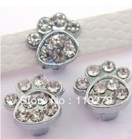 1pc Full Rhinestone Foot Print Internai Dia:8mm Slide Charms can through 8mm Belt