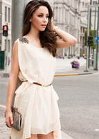 2013 free shipping  New Fashion HOT SALE Europe style  Women's Lady Vest Sleeveless Asymmetric Hem white Dress C583