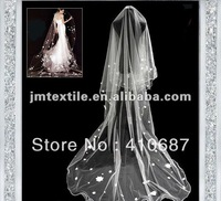 stars beige with 3m long bridal veil,bridal hair,new style