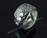 925 pure silver piscean rich koi thai silver ring