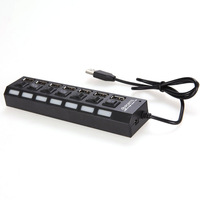 Black New 7 Port USB 2.0 Hub Splitter 480Mbps High Speed for Laptop PC F0793